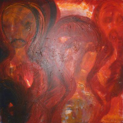 La peur, Technique mixte, 90 x 90 cm