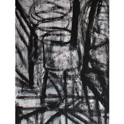Derrière le barreau, techniques mixtes sur panneau, pavatex 70 x 100 cm, 2006