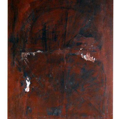 L'enfant qui pleure, techniques mixtes sur bois, pavatex 80 x 100cm, 2006