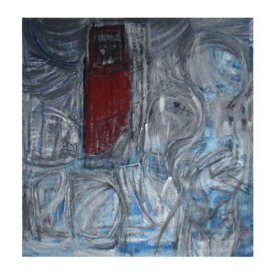 La porte rouge, techniques mixtes sur bois 107 x 112 cm, 2006-2007