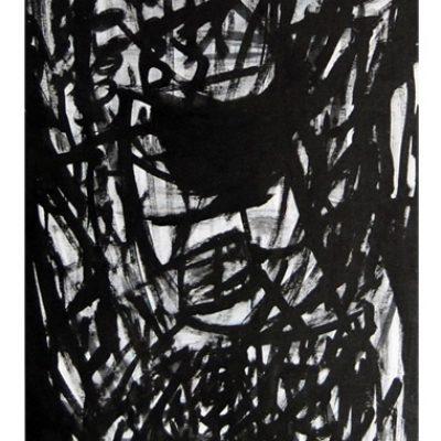 Ne pas voir et ne rien dire, techniques mixtes sur panneau, bois 50 x 80 cm, 2006
