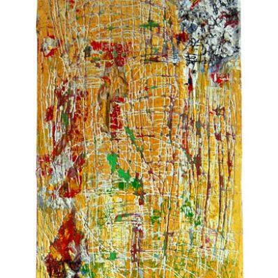 Planche d'armoire, Bénin, techniques mixtes sur bois 45x93cm