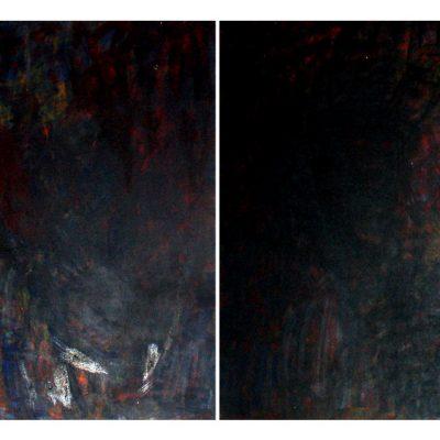 L'araignée, techniques mixtes sur bois diptyque 80 x 110 cm, 2006